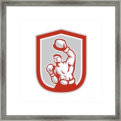 Boxer Boxing Punching Jabbing Circle Retro Framed Print