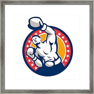 Boxer Boxing Punching Jabbing Retro Framed Print by Aloysius Patrimonio