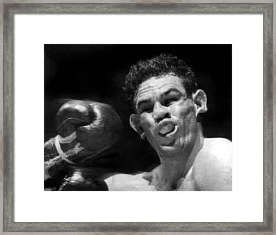 Boxer Catches A Left Hook Framed Print