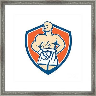 Boxer Champion Shouting Shield Retro Framed Print