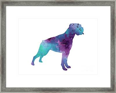 Boxer Dog Art Print Watercolor Painting Framed Print by Joanna Szmerdt