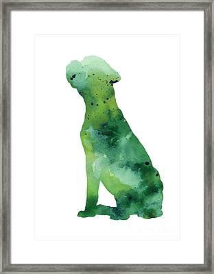 Boxer Dog Silhouette Watercolor Art Print Painting Framed Print by Joanna Szmerdt