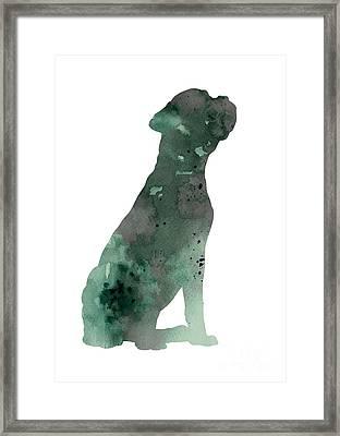 Boxer Figurine Painting Watercolor Art Print Framed Print by Joanna Szmerdt