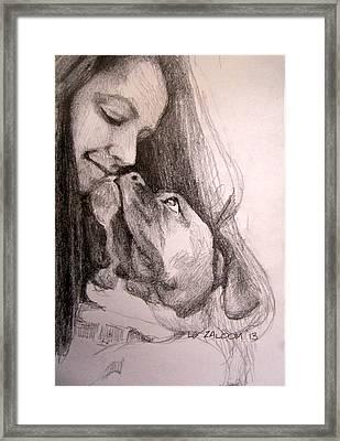 Boxer Kisses Framed Print