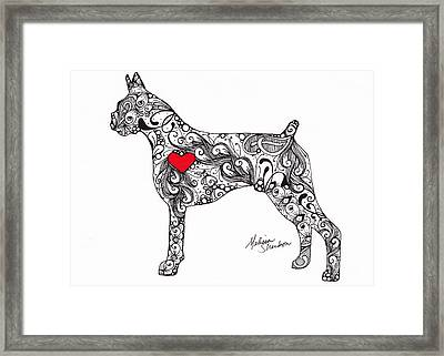 Framed Print featuring the drawing Boxer by Melissa Sherbon
