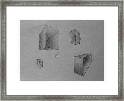 Framed Print featuring the drawing Boxes by AJ Brown