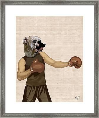 Boxing Bulldog Portrait Framed Print by Kelly McLaughlan