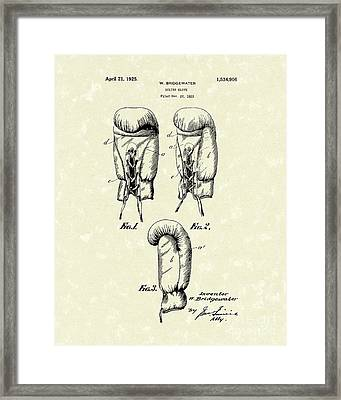 Boxing Glove 1925 Patent Art Framed Print by Prior Art Design