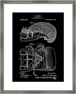 Boxing Glove Patent 1914 - Black Framed Print by Stephen Younts