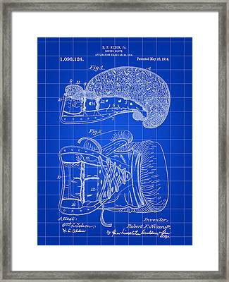 Boxing Glove Patent 1914 - Blue Framed Print by Stephen Younts