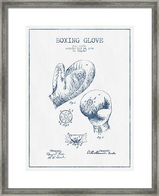 Boxing Glove Patent Drawing From 1894  -  Blue Ink Framed Print by Aged Pixel