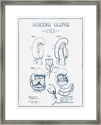Boxing Glove Patent Drawing From 1896  -  Blue Ink Framed Print by Aged Pixel