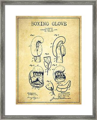 Boxing Glove Patent Drawing From 1896 - Vintage Framed Print by Aged Pixel