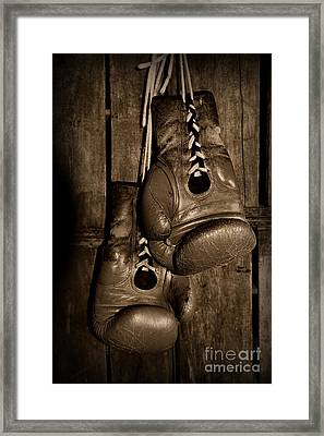 Boxing Gloves  Black And White Framed Print by Paul Ward