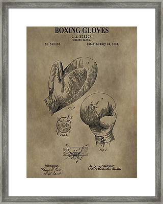 Boxing Gloves Patent Framed Print by Dan Sproul