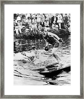 Boxing On Rafts Framed Print by Underwood Archives