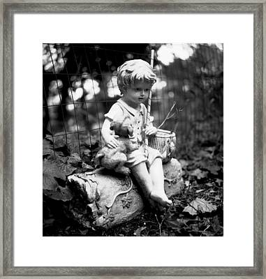Boy And Best Friend Framed Print