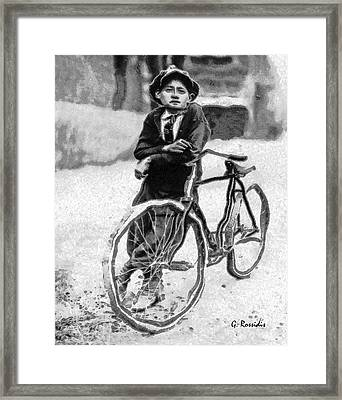 Boy And Bicycle Framed Print by George Rossidis