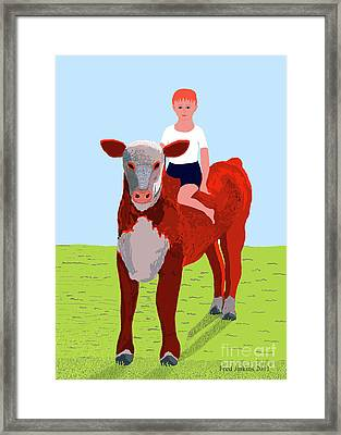 Boy And Calf Framed Print