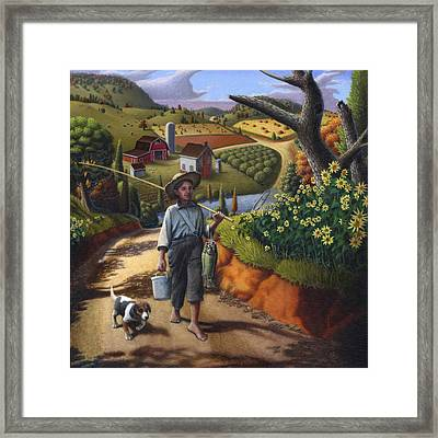 Boy And Dog Country Farm Life Landscape - Square Format Framed Print by Walt Curlee