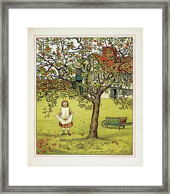Boy And Girl Picking Apples Framed Print by British Library