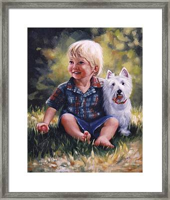 Boy And His Dog Framed Print