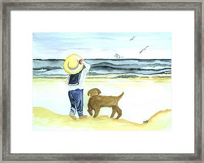 Boy And His Dog Framed Print by Marsha Heiken