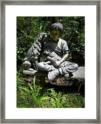 Boy And His Dogs Framed Print