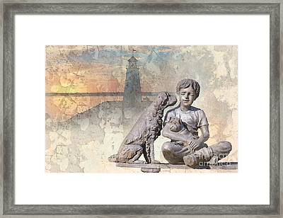 Boy And His Dogs Sculpture Framed Print by Betty LaRue