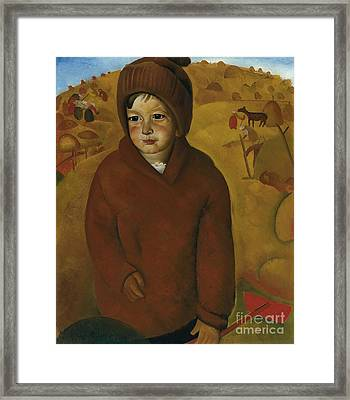 Boy At Harvest Time Framed Print by Celestial Images