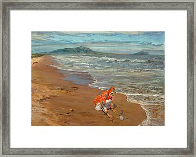 Boy At The Seashore Framed Print