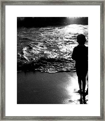 Framed Print featuring the photograph Boy By The Sea by Estate of Frank Dohnalek