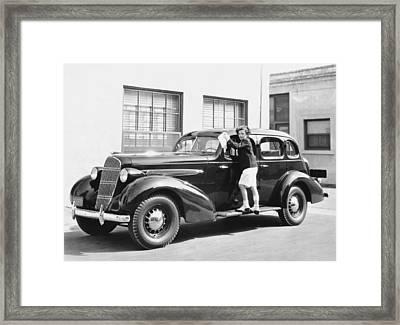 Boy Cleaning A Car Framed Print