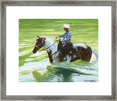 Boy Crossing Big Creek Framed Print by Don  Langeneckert