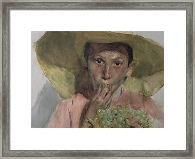 Boy Eating Grapes Framed Print by Joaquin Sorolla y Bastida