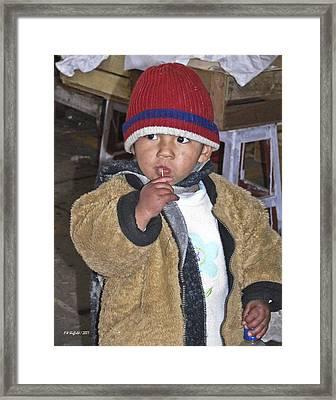 Boy Eating Quail Egg - Cusco Peru Framed Print