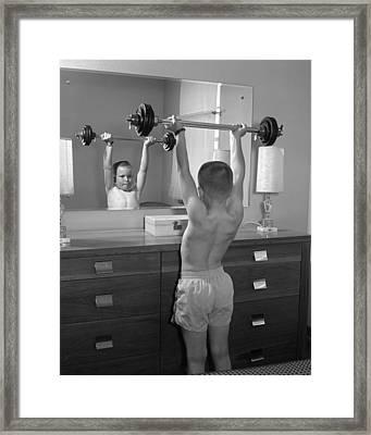 Boy Exercising At Mirror, C.1960s Framed Print