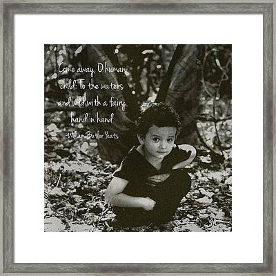 Boy Fairy And Quote Framed Print
