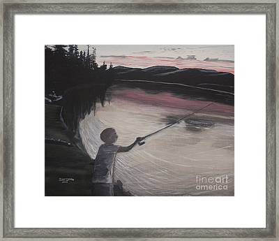 Boy Fishing And Sunset Framed Print