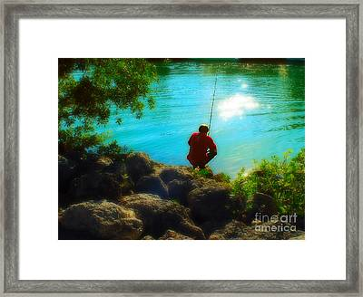Boy Fishing Framed Print by Andres LaBrada