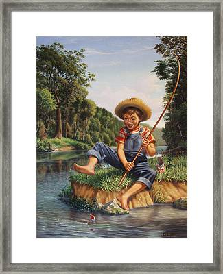 Boy Fishing In River Landscape - Childhood Memories - Flashback - Folkart - Nostalgic - Walt Curlee Framed Print by Walt Curlee