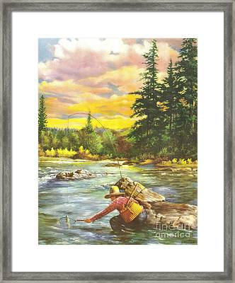 Boy Fishing Framed Print