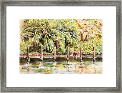 Boy Fishing With Dog Framed Print