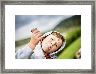 Boy Holding Ice Cream Framed Print