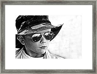 Boy In Aviators Framed Print