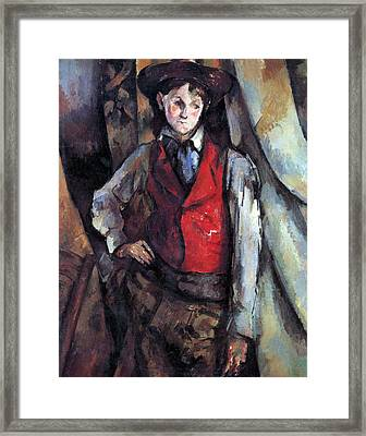 Boy In Red Waistcoat By Cezanne Framed Print by John Peter