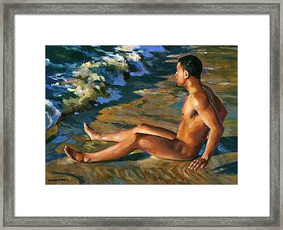 Boy In Shorebreak Framed Print by Douglas Simonson