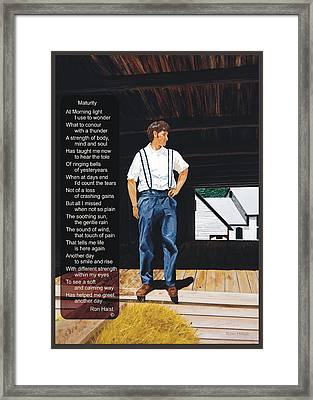 Boy In The Barn / Maturity Framed Print by Ron Haist