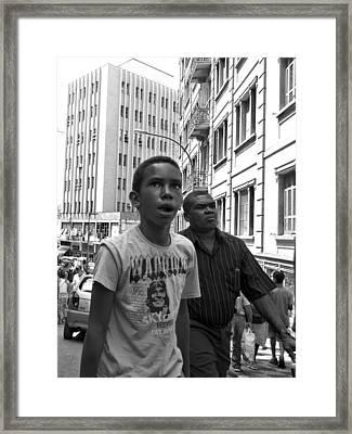 Boy In The Crowd - Sao Paulo Framed Print