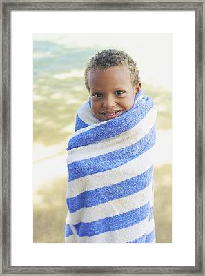 Boy In Towel Framed Print by Kicka Witte